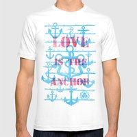 LOVE Is The Anchor Mens Fitted Tee White SMALL