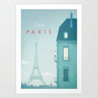 paris Art Prints featuring Paris by Travel Poster Co.