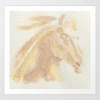 Horse Aquarelle Art Print