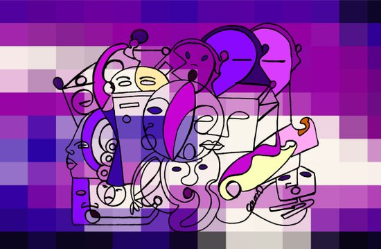 Purple White Commotion Canvas Print