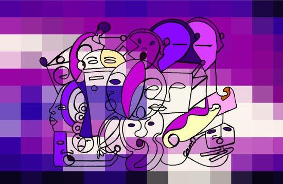 Purple White Commotion Art Print
