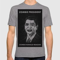 40. Zombie Ronald Reagan Mens Fitted Tee Athletic Grey SMALL