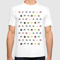 Cute Pokeball Pattern Mens Fitted Tee White SMALL