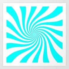 Swirl (Aqua Cyan/White) Art Print