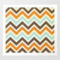 Orange Pop Chevron Art Print