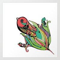 Rising Of The Birdy Gods Art Print
