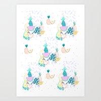 Fruiti tutti. Fruit, illustration, pattern, print, pineapple,  Art Print