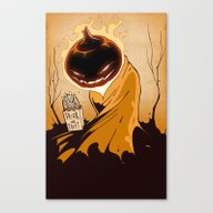 Canvas Print featuring Trick-or-treat by Hatrobot