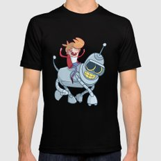 Adventurama/Fry and Bender Mens Fitted Tee Black SMALL