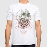 Skull Rose Geo Mens Fitted Tee Ash Grey SMALL