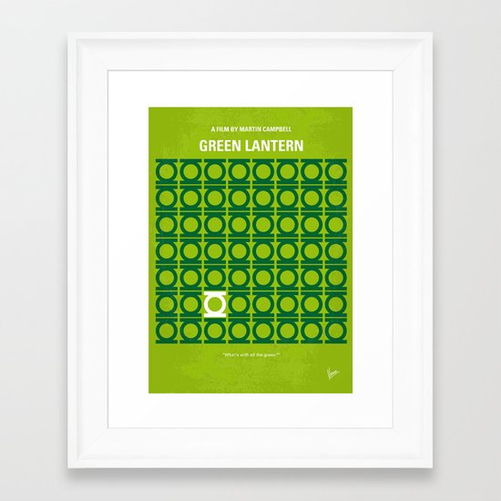No120 My GREEN LANTERN minimal movie poster Framed Art Print