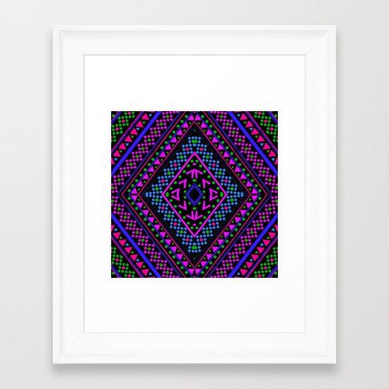 NEON PATTERN Framed Art Print