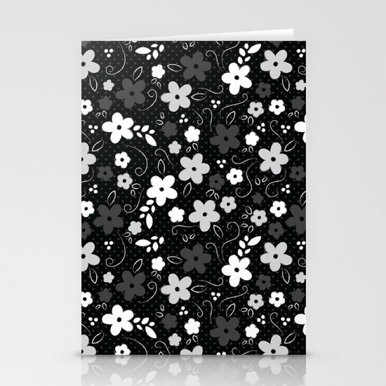 Black & White Floral Stationery Card