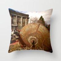 Old Mill Farm Equipment Throw Pillow