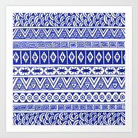 Cobalt Blue Geometric St… Art Print