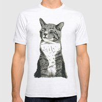 Cat Mens Fitted Tee Ash Grey SMALL
