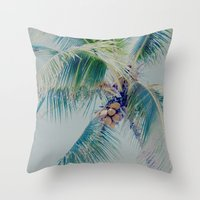 Palm Whispers Pastels Throw Pillow