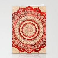 omulyána red gallery mandala Stationery Cards