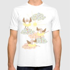 Dancing birds Mens Fitted Tee White SMALL