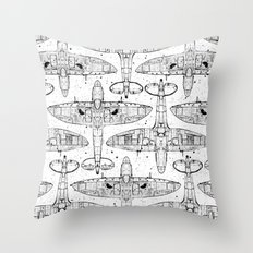 Spitfire Mk. XIV (black) Throw Pillow