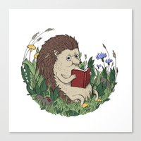 Hedgehog Reading A Book Canvas Print