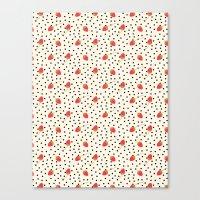 Strawberry Polka Dots Canvas Print