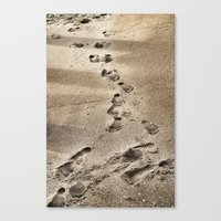 Canvas Print featuring Footprints in the Sand by Christine Workman