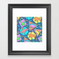 Nineties Dinosaur Patter… Framed Art Print