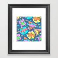 Nineties Dinosaur Patter… Framed Art Print