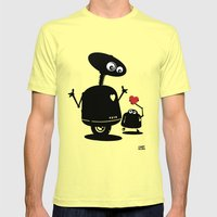 Robot Heart To Heart Mens Fitted Tee Lemon SMALL