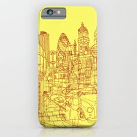 iPhone & iPod Case featuring London! Yellow/Red by David Bushell