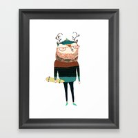 Deer, deer art, deer print, deer illustration,  Framed Art Print