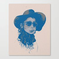 Woman In Hat And Sunglas… Canvas Print