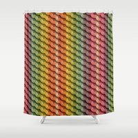 Wooden Asanoha Colorful Shower Curtain