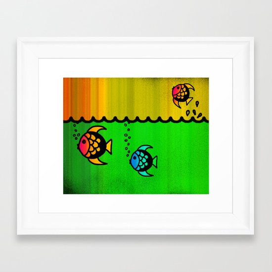 Slippery fish Framed Art Print