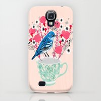 Galaxy S4 Cases featuring Bird on a Teacup by Andrea Lauren  by Andrea Lauren Design