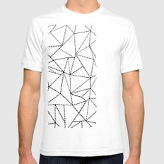 Ab Dotted Lines B on Grey Mens Fitted Tee SMALL White