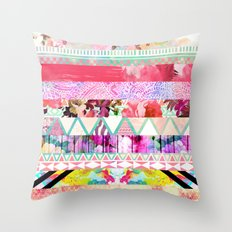 Pastel Abstract Floral Aztec Stripes Girly Pattern Throw Pillow