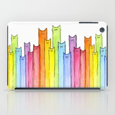 Cat Rainbow Watercolor Pattern iPad Case