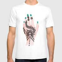 Modern Watercolor Hand  … Mens Fitted Tee White SMALL