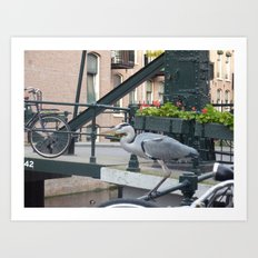 Crane on the Canal Art Print