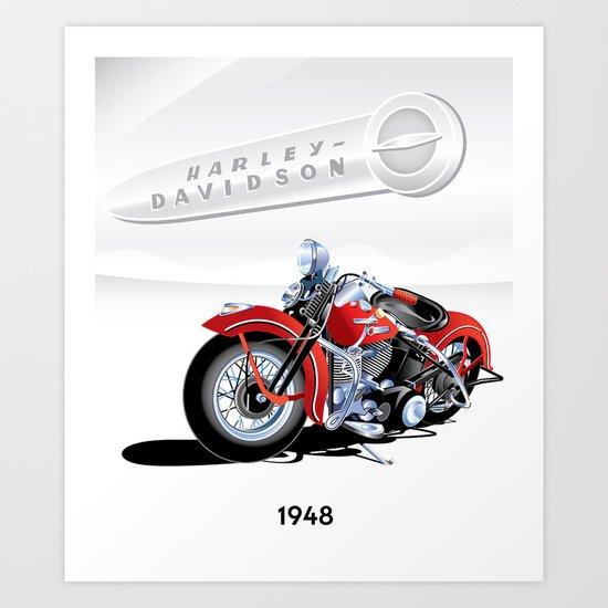 1948 Harley Davidson Motorcycle Art Print By Mcgrathdesigns Society6
