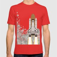 Space Shuttle Mens Fitted Tee Red SMALL
