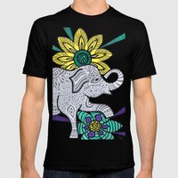Zen Elephant Mens Fitted Tee Black SMALL