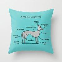 Greyhound Anatomy Throw Pillow