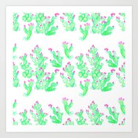 Prickly Pear Spring - Wh… Art Print