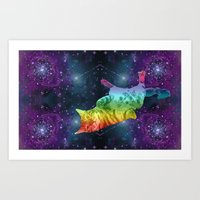 Rainbow Kitty Floating in Space Art Print