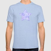 Lavender And White Zenta… Mens Fitted Tee Tri-Blue SMALL