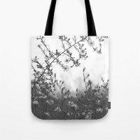Wild Asters Botanical BW Tote Bag
