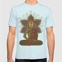 Sitting Buddha Mens Fitted Tee Light Blue SMALL